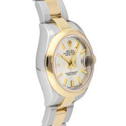 Rolex Silver 18K Yellow Gold And Stainless Steel Datejust 279163 Women's Wristwatch 28 MM