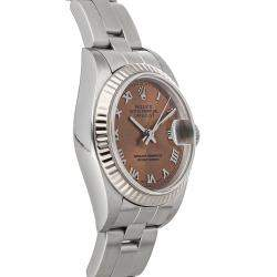Rolex Salmon 18K White Gold And Stainless Steel Datejust 79174 Women's Wristwatch 26 MM