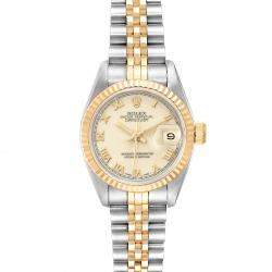 Rolex Ivory 18K Yellow Gold And Stainless Steel Datejust 69173 Women's Wristwatch 26 MM
