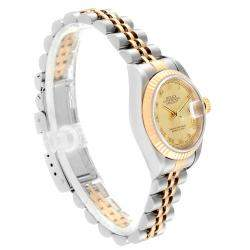 Rolex Champagne 18K Yellow Gold And Stainless Steel Datejust 69173 Women's Wristwatch 26 MM