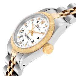 Rolex White 18K Yellow Gold And Stainless Steel Oyster Perpetual 67243 Men's Wristwatch 24 MM