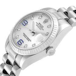 Rolex Silver Diamonds And Sapphire 18K White Gold President 178279 Women's Wristwatch 31 MM