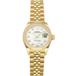 Rolex White Diamonds 18K Yellow Gold Datejust 279178 Women's Wristwatch 28 MM