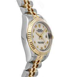 Rolex Cream 18K Yellow Gold And Stainless Steel Datejust 179173 Women's Wristwatch 26 MM