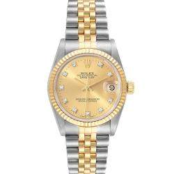 Rolex Champagne Diamonds 18K Yellow Gold And Stainless Steel Datejust 68273 Women's Wristwatch 31 MM