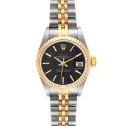 Rolex Black 18K Yellow Gold And Stainless Steel Datejust 69173 Women's Wristwatch 26 MM