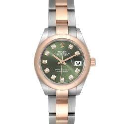 ساعة يد نسائية رولكس ديت جست 279161 ستانلس ستيل وذهب وردي عيار 18 ألماس أخضر زيتوني 28 مم