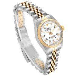 Rolex White 18k Yellow Gold And Stainless Steel Datejust 69173 Women's Wristwatch 26 MM