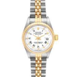 ساعة يد نسائية رولكس ديت جست 69173 ستانلس ستيل وذهب أصفر عيار 18 بيضاء 26 مم