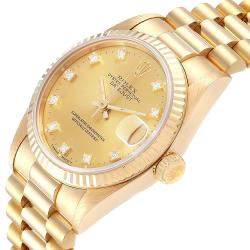Rolex Champagne Diamonds 18K Yellow Gold President Datejust 68278 Women's Wristwatch 31 MM