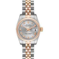 Rolex Gray 18K Rose Gold And Stainless Steel Datejust 179171 Women's Wristwatch 26 MM