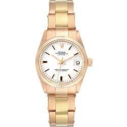 Rolex Silver 18K Rose Gold President Datejust 6827 Women's Wristwatch 31 MM