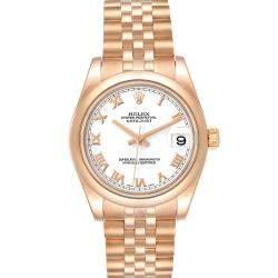 Rolex White 18K Rose Gold President 178245 Women's Wristwatch 31 MM