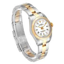 Rolex White 18K Yellow Gold And Stainless Steel Oyster Perpetual 67193 Women's Wristwatch 24 MM