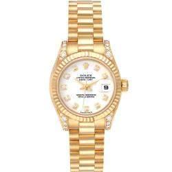 ساعة يد نسائية رولكس بريزدنت 179238 ذهب أصفر عيار 18 ألماس بيضاء 26مم