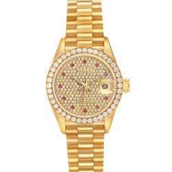 Rolex Champagne Diamonds And Rubies 18K Yellow Gold President Datejust 69138 Women's Wristwatch 26 MM