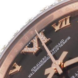 Rolex Brown Diamonds 18k Rose Gold Pearlmaster 81285 Women's Wristwatch 34 MM