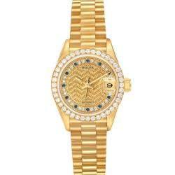 Rolex Champagne Diamond And Sapphires 18K Yellow Gold President Datejust 69138 Women's Wristwatch 26 MM