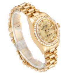 Rolex Champagne Diamonds 18k Yellow Gold President 179138 Women's Wristwatch 26 MM
