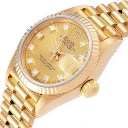 Rolex Champagne 18K Yellow Gold Diamond President Datejust Women's Wristwatch 26MM