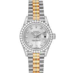 Rolex Silver Diamonds 18K White Yellow Rose Gold President Tridor 69159 Women's Wristwatch 26 MM