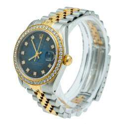 Rolex Blue Datejust Steel & Yellow Gold Diamonds Women's Watch 31 MM