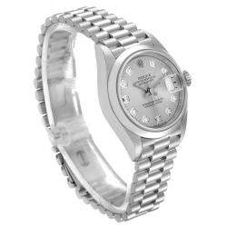 Rolex Silver Diamond Platinum President 79166 Women's Wristwatch 26 MM