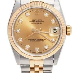 Rolex Champagne Diamonds 18K Yellow Gold And Stainless Steel Datejust 68273 Women's Wristwatch 30 MM
