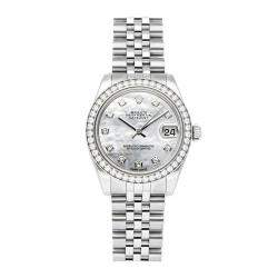 Rolex MOP Diamonds 18k White Gold and Stainless Steel Datejust 178384 Women's Wristwatch 31 MM