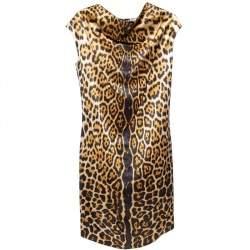 Yves Saint Laurent Brown Leopard Printed Silk Satin Cowl Neck Detail Shift Dress S
