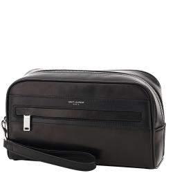 Saint Laurent Black Lambskin Leather Camp Camera Pouch Bag