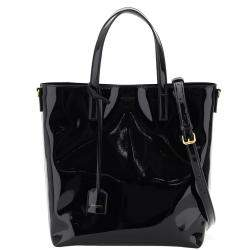 Saint Laurent Black Patent Leather Toy North/South Shopping Tote Bag