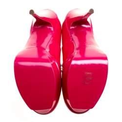 Saint Laurent Paris Fuschia Pink Patent Leather Tribute Platform Pumps Size 39