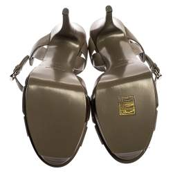 Saint Laurent Paris Grey Leather Tribute Platform Sandals Size 41