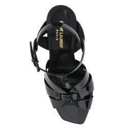 Saint Laurent Black Patent Leather Tribute Sandals IT 36