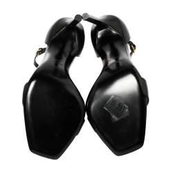 Saint Laurent Paris Black Leather Amber Sandals Size 36