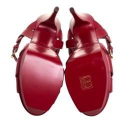 صندل سان لوران نعل سميك تربيوت جلد أحمر مقاس 39.5