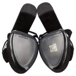 Saint Laurent Black Suede Bianca Sandals Size EU 37