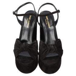 Saint Laurent Black Suede Bianca Sandals Size EU 38