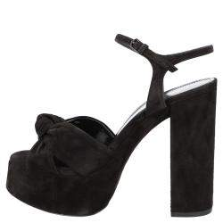 Saint Laurent Black Suede Bianca Sandals Size EU 39