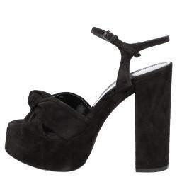 Saint Laurent Black Suede Bianca Sandals Size EU 40