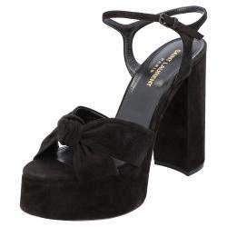 Saint Laurent Black Suede Bianca Sandals Size EU 41