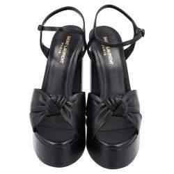 Saint Laurent Black Leather Bianca Sandals Size EU 39