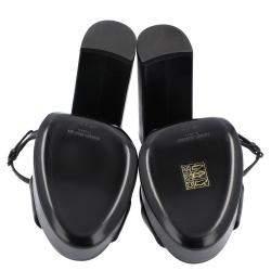 Saint Laurent Black Leather Bianca Sandals Size EU 40