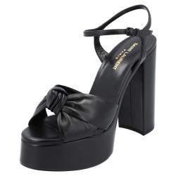 Saint Laurent Black Leather Bianca Sandals Size EU 41