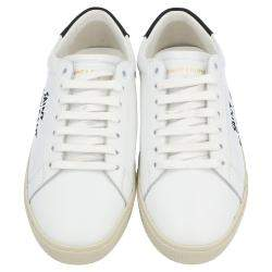 Saint Laurent White/Black Leather Court Classic Sneakers Size EU 39