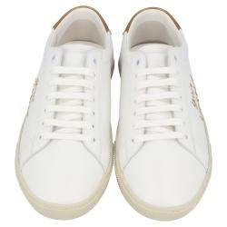 Saint Laurent White/Brown Leather Court Classic Sneakers Size EU 37