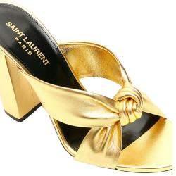 Saint Laurent Gold Leather Loulou 100 Mules Size EU 36