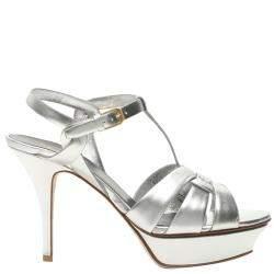Saint Laurent Metallic Silver Leather Tribute Sandals Size IT 36