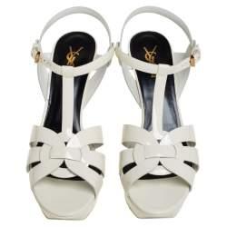 Saint Laurent  Off White Patent Leather Tribute Sandals Size 41